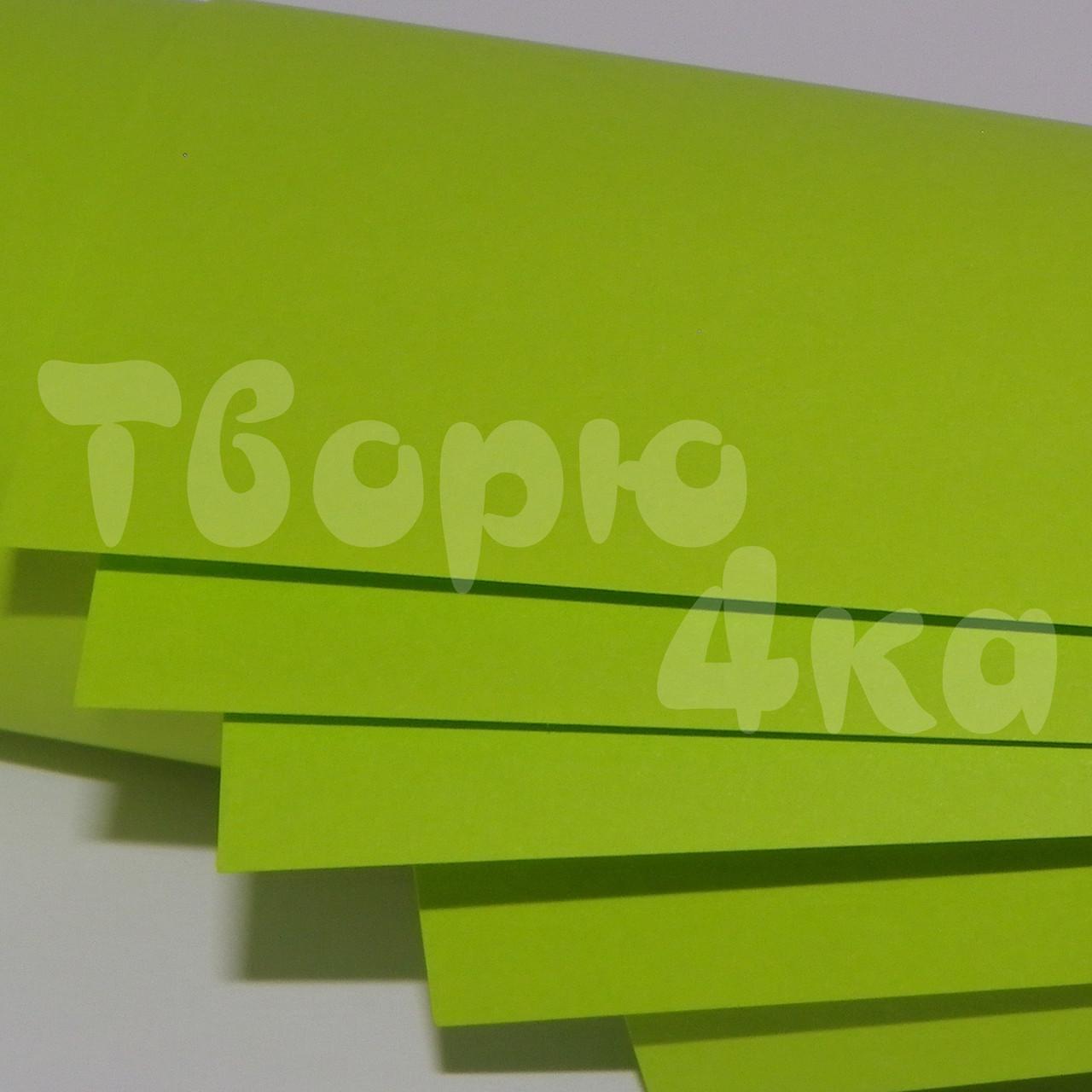 Бумага цветная А3 160 гр/м.кв cyber green (кислотный зеленый)