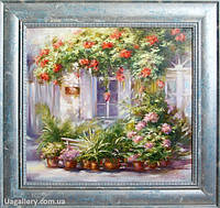 Картина пейзаж «Цветущий сельский дворик» купить картину масло, картины для интерьера, картины для дома