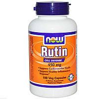 Рутин, витамины для сердечно-сосудистой системы, Now Foods, Rutin, 450 мг, 100 капсул