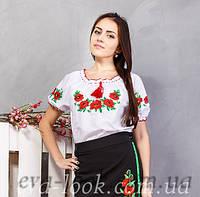 Красивая женская вышиванка Маки на короткий рукав., фото 1