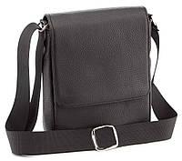 Удобная мужская кожаная сумка черного цвета SHVIGEL 00392