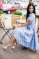 Платье летнее голубое в клеточку 03/336