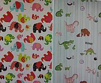 Ткань рулонные шторы Слоники и Динозавры
