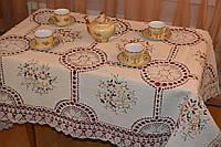 Скатерть льняная с вышивкой и кружевом - Код 119-1-5