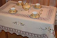 Скатерть льняная с вышивкой и кружевом - Код 119-1-6