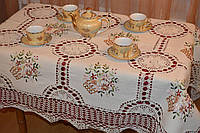 Скатерть льняная с вышивкой и кружевом - Код 119-1-13