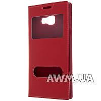 Чехол книжка для Samsung Galaxy A3 2016 (A310H) с окошком красная