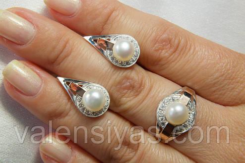 Набор женских украшений с жемчугом натуральным и золотом - купить по ... b83b405743a
