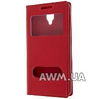 Чехол книжка с окошком для Lenovo A1000 красный