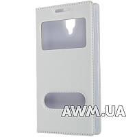 Чехол книжка для Lenovo A1000 с окошком белая