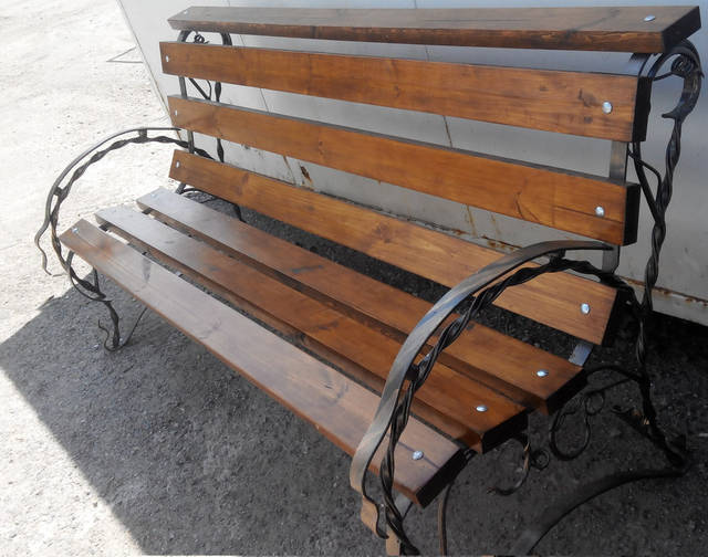 Скамейка для дачи и сада (металл ковка + дерево) -1