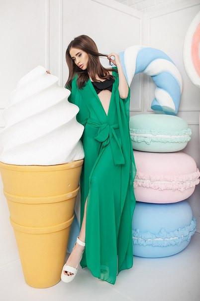 02da3a708e3603b Женская пляжная туника в зеленом цвете , цена 380 грн., купить в ...