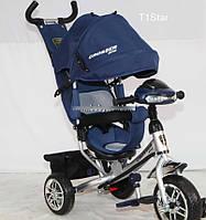 Трехколесный велосипед Crosser One T1 фара (EVA колеса),синий