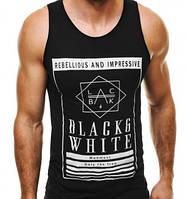 """Майка мужская стильная """"Black & White"""" черная"""