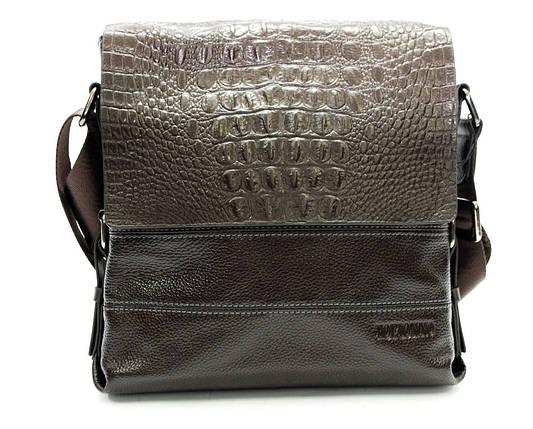 Мужская кожаная сумка под крокодила коричневая, фото 2