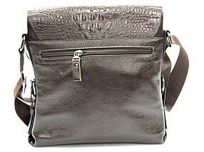 Мужская кожаная сумка под крокодила коричневая, фото 3