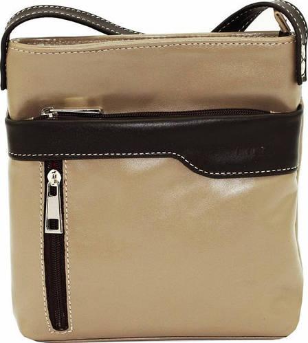 Качественная женская сумочка на плечо из натуральной кожи VATTO Wk13 N3Kaz400, капучино+коричневый