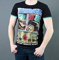 Черная футболка с хард рок рисунком