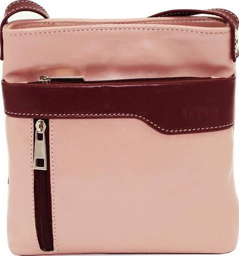 Великолепная женская сумочка на плечо из натуральной кожи VATTO Wk13 N6.5, пудра+бордо