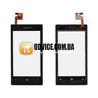 Тачскрин (сенсор) Nokia 520 525 Lumia, цвет черный, с передней панелью