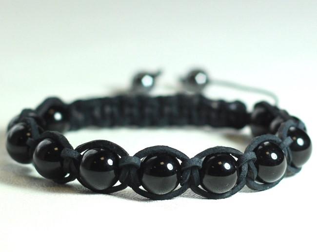 Кожаный браслет из натурального камня агат черного цвета shamballa