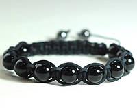 Кожаный браслет из агата черного shamballa