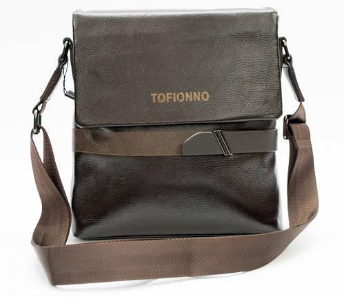 Мужская сумка из натуральной кожи коричневая с декоративным ремешком, фото 2