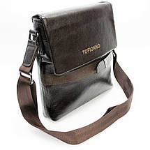 Мужская сумка из натуральной кожи коричневая с декоративным ремешком, фото 3