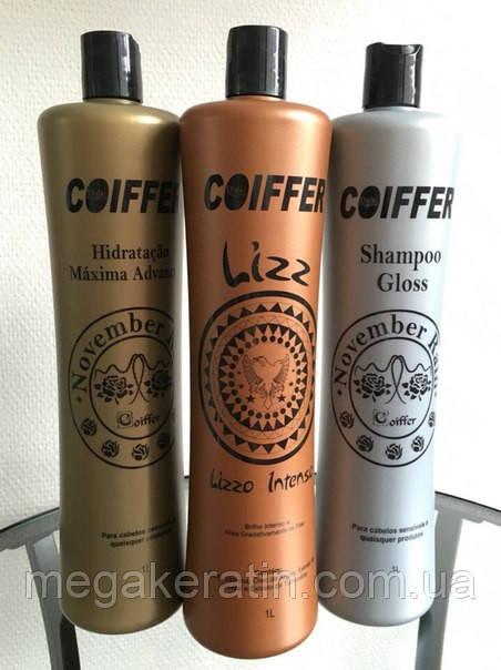 Набор для кератинового выпрямления волос Lizz от Coiffer 3х1000мл