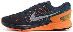Женские кроссовки Nike Flyknit Lunarglide 7 Dark Obsidian Total Orange, найк флайкнайт