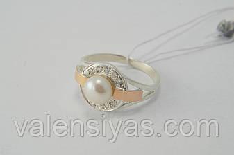 Красивое женское серебряное кольцо с культивированным жемчугом и золотом,  фото 2 adba95cf8f1