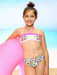 """Детский раздельный купальник для девочки """"Aquarium"""" розовый (р.122, 128, 140 см) (KEYZI, Польша)"""