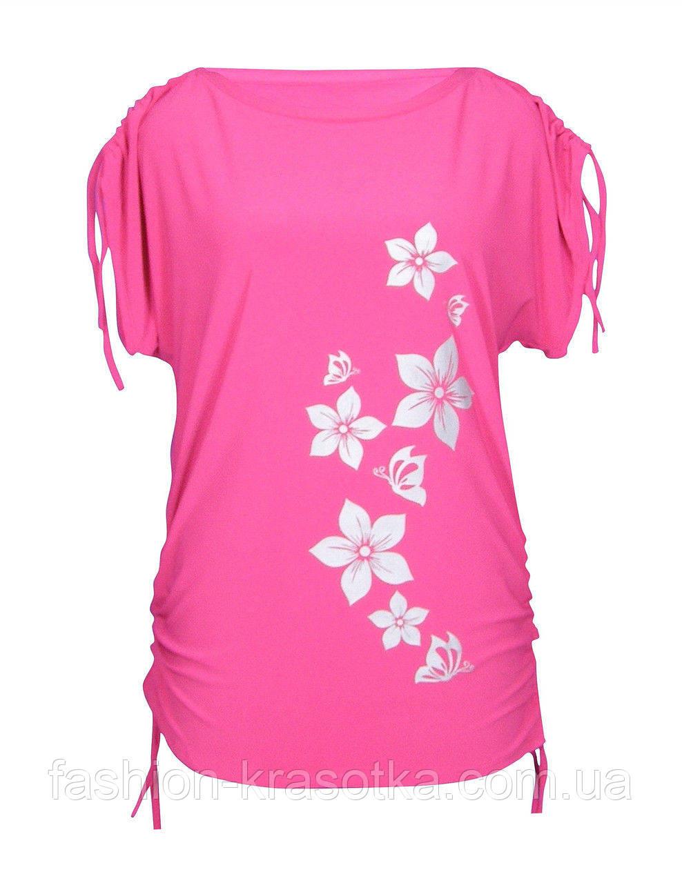 Туника на лето Цветы - прямой крой - короткий рукав