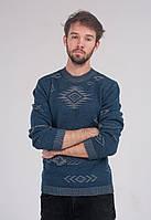 Мужской теплый свитер с узором 3002
