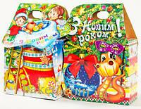 """Новогодняя упаковка из картона """"Сумочка сапожок"""" 500г."""