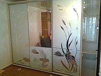 Шкаф купе,  двери - зеркало с пескоструйным рисунком, стекло