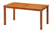 Садовый прямоугольный стол из дерева с отверстием под зонтик