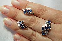 Комплект украшений из серебра с синими камнями и золотом