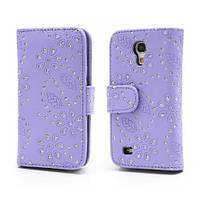 "Чехол книжка ""Glittery Powder"" на  Samsung Galaxy S IV S4 mini I9190, сиреневая"