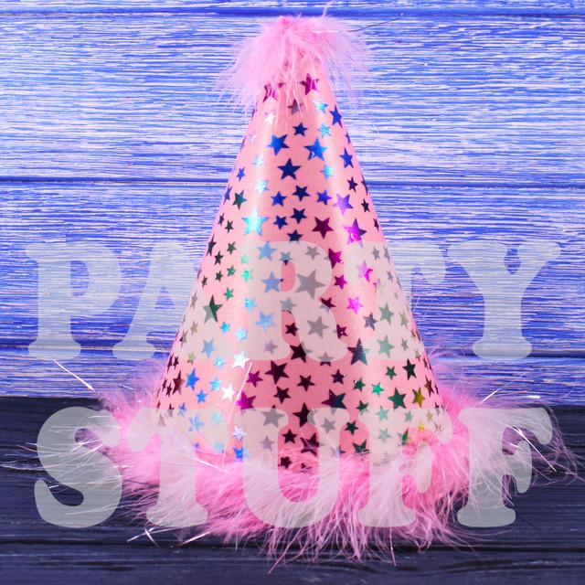 Розовый колпак с пухом для карнавала
