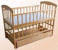 Детская кроватка маятник, ящик, откидная стенка Ясень. Наталка.