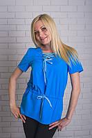 Туника с плащевки голубая, фото 1
