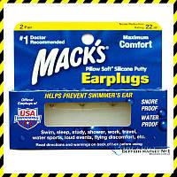 Cиликоновые беруши-шарики Mack's Pillow Soft White (2 пары!). США.