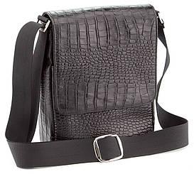 Мужская кожаная сумка через плечо фактуры крокодил  SHVIGEL 00391