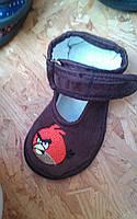 Детские тапочки оптом 13-17,5 птички коричневые