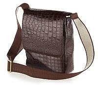 Мужская кожаная сумка через плечо фактуры крокодил  SHVIGEL 00370