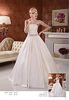 Свадебное  пышное атласное платье с поясом на талии кофейного цвета Рашель