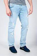 Стильные мужские джинсы с декоративными дырками голубые, светло-голубые