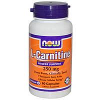 L-Карнитин 250 мг 60 капс для сердца восстановление после инфаркта снижение холестерина Now Foods