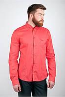 Модная мужская рубашка с длинными рукавами и оригинальным карманом на груди корраловая, коричневая, молочная, синяя, черная